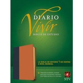 Biblia de estudio del diario vivir NTV Piel italiana Azul/Café índice