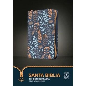 Santa Biblia NTV, Edición compacta, cierre, tela azul con hojas