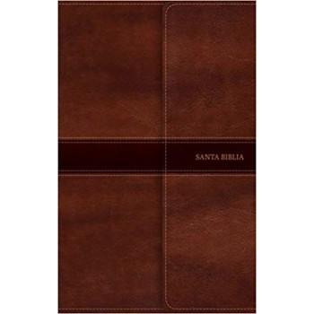 Biblia Ultrafina RVR60, marrón símil piel y solapa con imán con índice