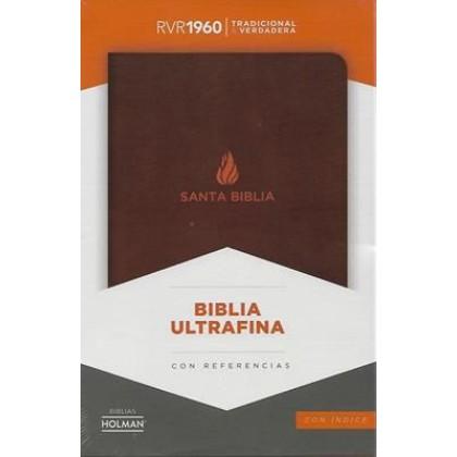 Biblia RVR1960 ultrafina con referencias con índice piel fabricada vino