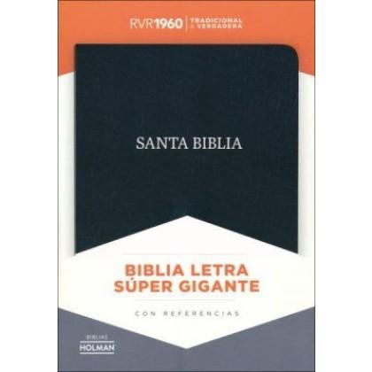RVR 1960 Biblia Letra Súper Gigante negro, piel fabricada