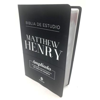 Biblia de estudio Matthew Henry piel fabricada negra