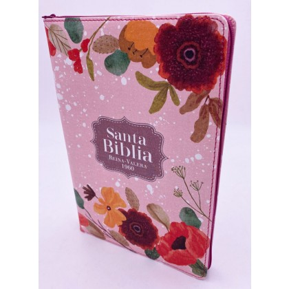 Biblia Ultrafina RVR60 tapa tela con cremallera Flores primaverales